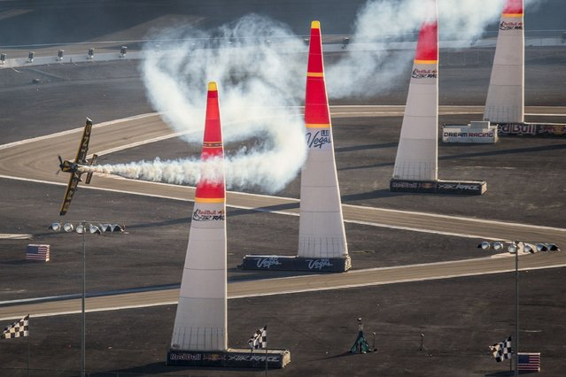 Nigel Lamb of Great Britain performs and takes the second place on the qualifying for the seventh stage of the Red Bull Air Race World Championship at the Las Vegas Motor Speedway in Las Vegas, Nevada, United States on October 11, 2014. (Photo by Andreas Langreiter/Red Bull via Getty Images)