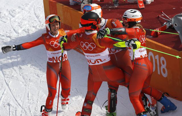 Norway' s Kristin Lysdahl, Norway' s Sebastian Foss- Solevaag, Norway' s Nina Haver- Loeseth and Norway' s Leif Kristian Nestvold- Haugen celebrate after winning the Alpine Skiing Team Event small final at the Jeongseon Alpine Center during the Pyeongchang 2018 Winter Olympic Games in Pyeongchang on February 24, 2018. (Photo by Leonhard Foeger/Reuters)