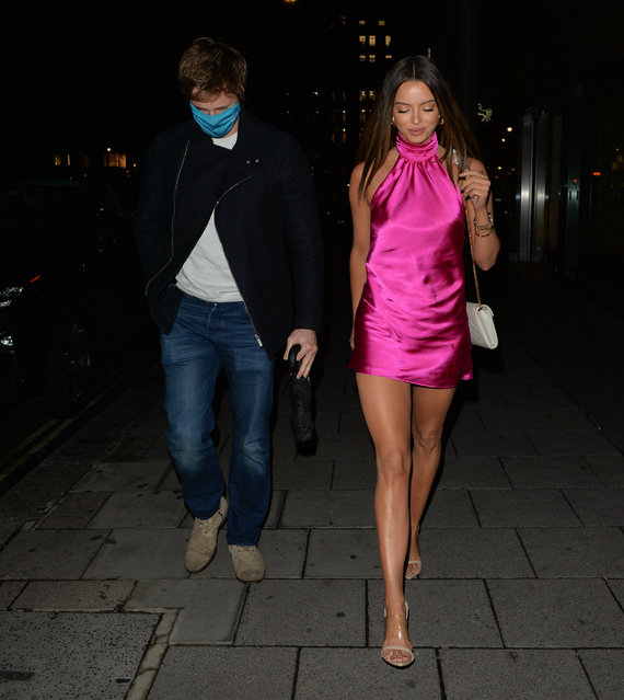 UK's Love Island favourite Maura Higgins, 29, was seen wearing a short satin dress as she left Amazonico Restaurant in Mayfair, central London on October 28, 2020. (Photo by Splash News and Pictures)