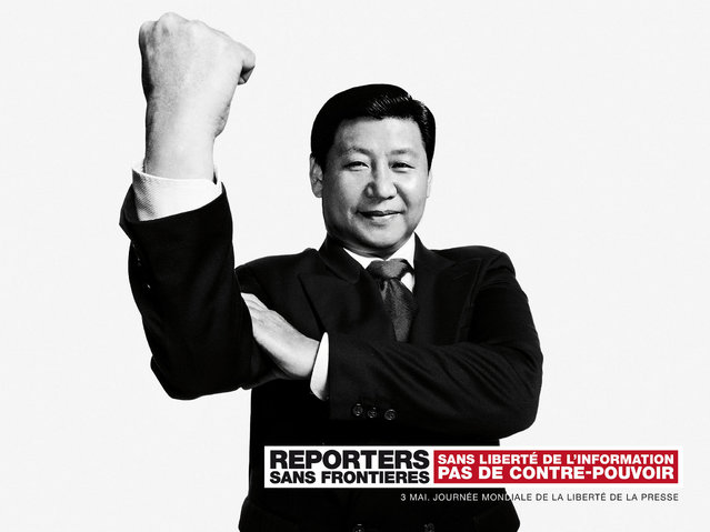 Reporters Without Borders exposes montages of world leaders, including Mahmoud Ahmadinejad (Iran), Xi Jinping (China) and Bashar al-Assad (Syria) and Vladimir Putin (Russia) in Paris, marking the 20th World Day of Freedom Media. (Photo by Vincent Bousserez/Reporters Without Borders)