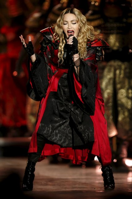 Singer Madonna performs during her concert at the AccorHotels Arena in Paris, France, December 9, 2015, on her Rebel Heart Tour. (Photo by Benoit Tessier/Reuters)