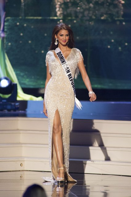Kimberly Castillo, Miss Dominican Republic 2014 competes on stage in her evening gown during the Miss Universe Preliminary Show in Miami, Florida in this January 21, 2015 handout photo. (Photo by Reuters/Miss Universe Organization)