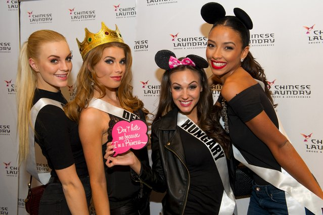 Miss Sweden 2015 Paulina Brodd, Miss Denmark 2015 Cecilie Wellemberg, Miss Hungary 2015 Nikoletta Nagy, and Miss France 2015 Flora Coquerel, pose for photos at a Chinese Laundry sponsored event at Zappos, in Las Vegas, Nevada, December 8, 2015. The 2015 Miss Universe contestants are touring, filming, rehearsing and preparing to compete for the DIC Crown in Las Vegas, to be televised December 20, 2015. (Photo by Darren Decker/Reuters/The Miss Universe Organization)