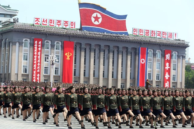 Female North Korean soldiers march during a mass military parade on Kim Il Sung Square in Pyongyang to mark the 60th anniversary of the Korean War armistice Saturday, July 27, 2013. (Photo by Wong Maye-E/Reuters)