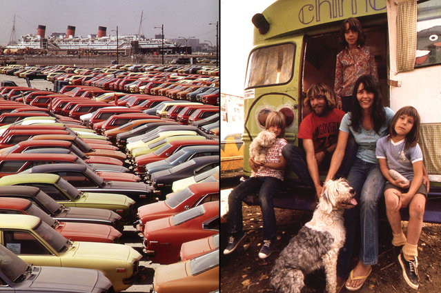 Left: Mazda vehicles await shipment, Terminal Island, Long Beach, California, June 1972. The RMS Queen Mary, moored in the background, opened as a tourist attraction on May 8, 1971. Right: The painted bus is home, October 1972. (Photo by David Hiser/Charles O'Rear/NARA via The Atlantic)