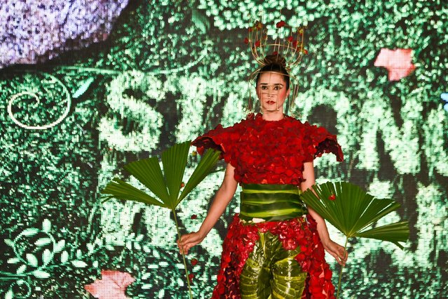 A model presents a creation by Colombian designer Katherine Claros made with organic elements during BioFashion Show, on November 19, 2016, in Cali, Valle del Cauca department, Colombia. (Photo by Luis Robayo/AFP Photo)