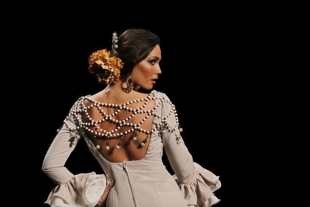 A model presents a creation by Mercedes Mestre during the International Flamenco Fashion Show SIMOF in the Andalusian capital of Seville, February 6, 2015. (Photo by Marcelo del Pozo/Reuters)