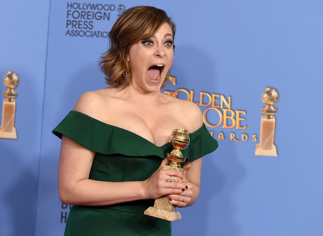 """Rachel Bloom poses in the press room with the award for best actress in a TV series, comedy or musical, for her role in """"Crazy Ex-Girlfriend"""" at the 73rd annual Golden Globe Awards on Sunday, January 10, 2016, at the Beverly Hilton Hotel in Beverly Hills, Calif. (Photo by Jordan Strauss/Invision/AP Photo)"""