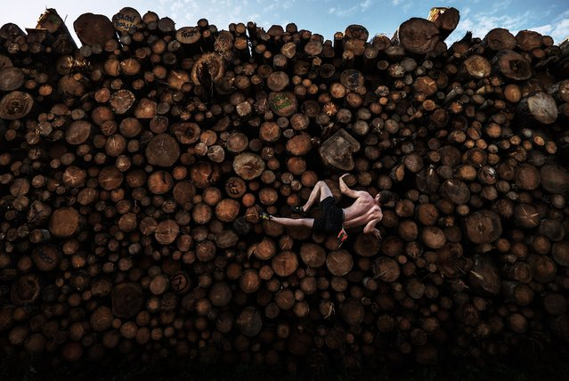 Single Sports Third Prize. Georg Filser-Mayerhofer of Germany climbs a log pile while doing some bouldering training in Kochel Am See, Germany. (Photo by Adam Pretty/Getty Images/Istanbul Photo Awards 2021)