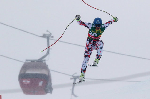 In this Sunday, February 22, 2015 file photo, Matthias Mayer of Austria, the winner, is airborne during an alpine ski World Cup men's super-G event, in Saalbach Hinterglemm, Austria. (Photo by Giovanni Auletta/AP Photo)