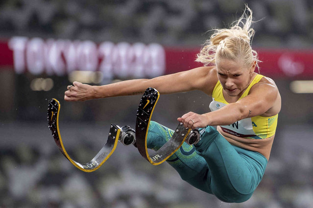 Vanessa Low of Australia competes in the Women's Long Jump - T42 Athletics Final at the Tokyo 2020 Paralympic Games in Tokyo Thursday, September 2, 2021. (Photo by Joel Marklund for OIS via AP Photo)