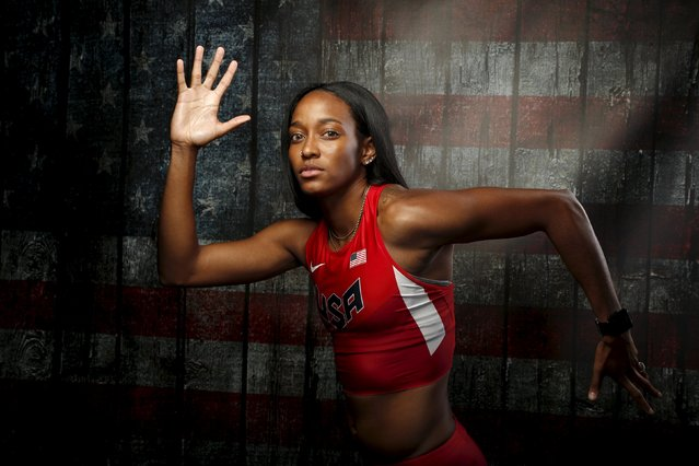 Runner English Gardner poses for a portrait at the U.S. Olympic Committee Media Summit in Beverly Hills, Los Angeles, California March 8, 2016. (Photo by Lucy Nicholson/Reuters)