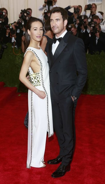 "U.S. actors Dylan McDermott and Maggie Q arrive for the Metropolitan Museum of Art Costume Institute Gala 2015 celebrating the opening of ""China: Through the Looking Glass"" in Manhattan, New York May 4, 2015. (Photo by Andrew Kelly/Reuters)"