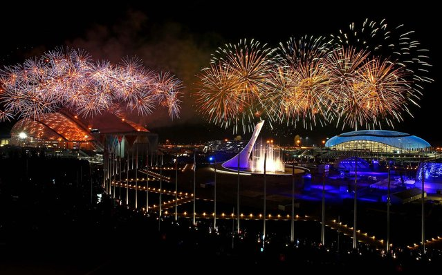 Fireworks explode over Olympic Park. (Photo by Al Bello/Getty Images)