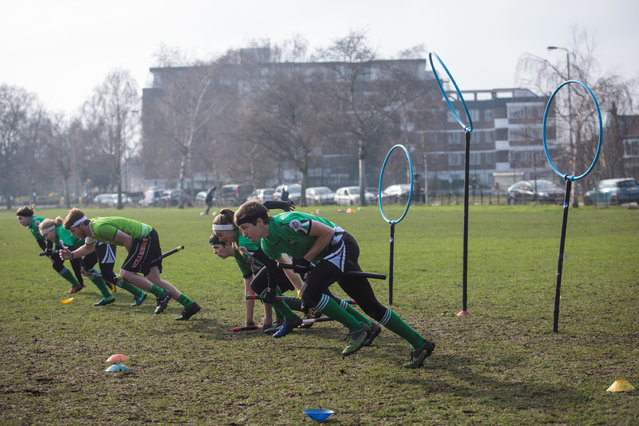 The Keele Squirrels quidditch team run during the Crumpet Cup quidditch tournament on Clapham Common on February 18, 2017 in London, England. (Photo by Jack Taylor/Getty Images)