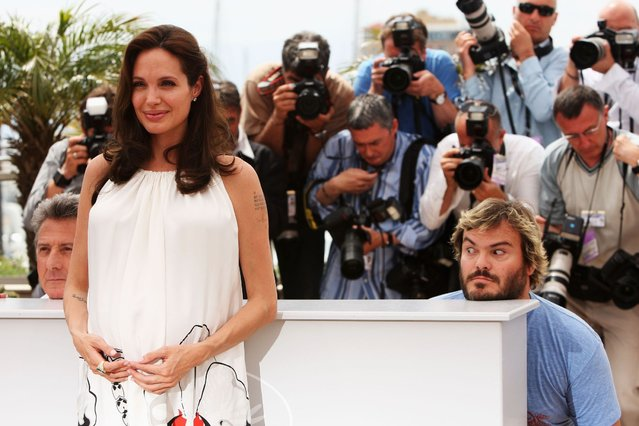 "Photocall of ""Kung Fu Panda"" at Cannes film festival In Cannes, France On May 15, 2008 – Jack Black, Angelina Jolie and Dustin Hoffman. (Photo by Sean Gallup/Getty Images)"