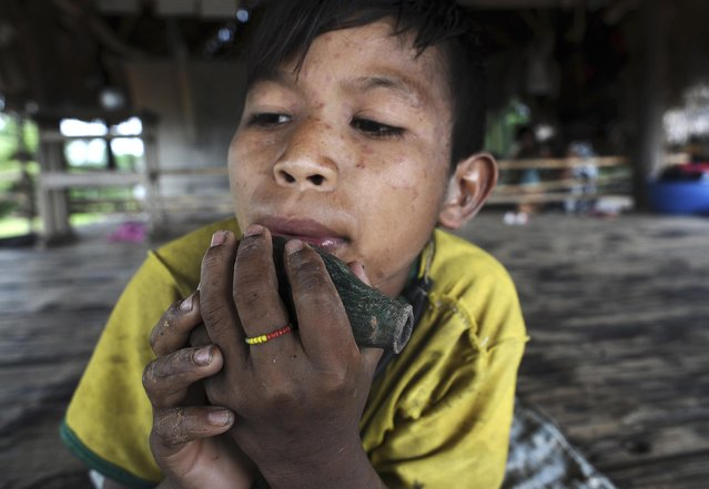 Binai, son of Cacique Omina of the Madija tribe, plays a ceramic flute made by uncontacted Indians which his father found and gave to him, in Igarape do Anjo in Brazil's northwestern Acre state, March 12, 2014. (Photo by Lunae Parracho/Reuters)