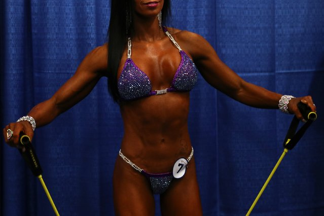 Bikini International contestant Liz Yisrael warms up before taking the stage at the Greater Columbus Convention Center during the Arnold Sports Festival 2017 on March 4, 2017 in Columbus, Ohio. (Photo by Maddie Meyer/Getty Images)