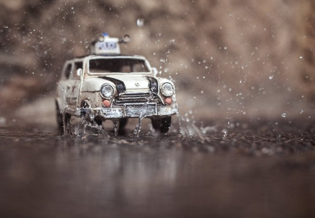 """It's raining"", White Police Mini Cooper, Albufeira, Portugal, November 2012. (Photo by Kim Leuenberger)"