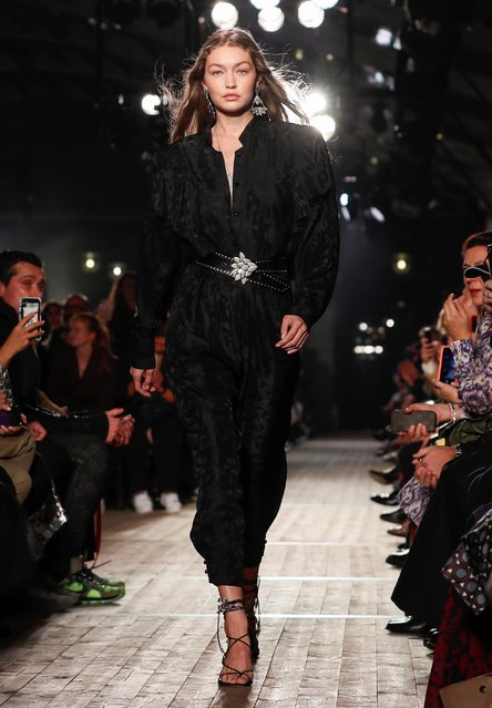 Model Gigi Hadid presents a creation by designer Isabel Marant as part of her Spring/Summer 2020 women's ready-to-wear collection show during Paris Fashion Week in Paris, France, September 26, 2019. (Photo by Gonzalo Fuentes/Reuters)