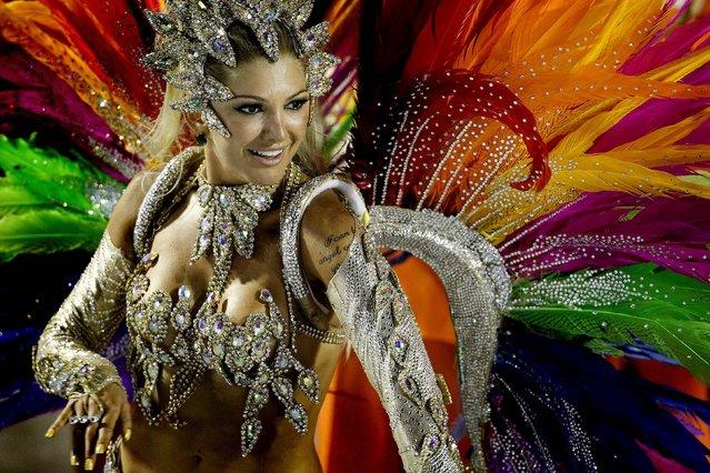 A dancer from the Mocidade samba school performs at the Sambadrome in Rio de Janeiro
