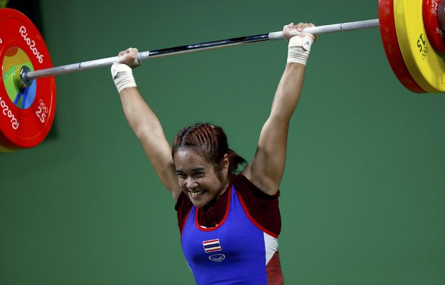 2016 Rio Olympics, Weightlifting, Final, Women's 48kg, Riocentro, Pavilion 2, Rio de Janeiro, Brazil on August 6, 2016. Sopita Tanasan (THA) of Thailand competes. (Photo by Kai Pfaffenbach/Reuters)