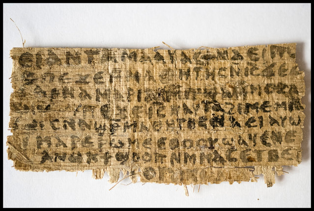 A previously unknown scrap of ancient papyrus written in ancient Coptic is pictured in this undated handout photo. The fourth-century text provides the first known piece of evidence that some early followers of Jesus proposed that he was married. (Photo by Karen L. King, courtesy Harvard University/CNS Photo)