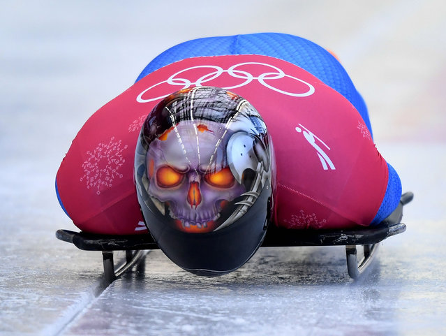Joseph Luke Cecchini of Italy starts his men' s skeleton training session at the Olympic Sliding Centre, during the Pyeongchang 2018 Winter Olympic Games in Pyeongchang, South Korea on February 12, 2018. (Photo by Mark Ralston/AFP Photo)