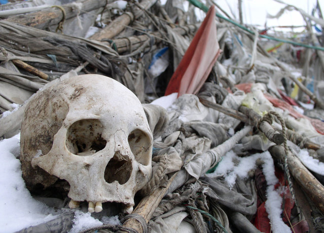 Human remains from a Tibetan sky burial in northern Sichuan. (Photo by Tom Carter/The Atlantic)