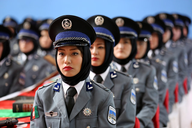 Afghan female police cadets are seen during their graduation ceremony at Sivas Police Vocational Center Directorate in Sivas, Turkey on March 13, 2018. (Photo by Serhat Zafer/Anadolu Agency/Getty Images)