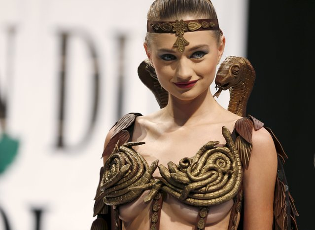 A model presents a creation made with chocolate by professional designers and pastry chefs during a Chocolate Fashion Show at the Salon Du Chocolat in Beirut, Lebanon November 12, 2015. (Photo by Jamal Saidi/Reuters)