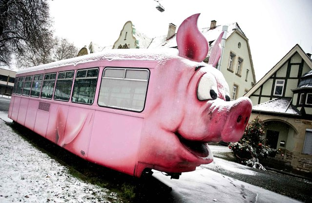 Snow covers a pig-shaped discarded tram that is placed in front of a pig museum in Stuttgart, southwestern Germany, on December 27, 2014. Meteorologists forecast temperatures around snow in southwestern Germany with temperatures around minus 3 degrees. (Photo by Daniel Naupold/AFP Photo/DPA)
