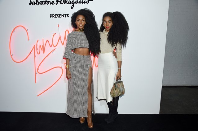 "Bloggers TK Quann (L) and Cipriana Quann  attend the ""Ferragamo Presents: Gancio Studios, Celebrating 100 Years In Hollywood"" at Gancio Studios on December 8, 2015 in New York City. (Photo by Nicholas Hunt/Getty Images)"
