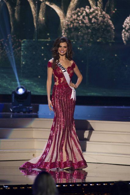 Lara Debbane, Miss Egypt 2014 competes on stage in her evening gown during the Miss Universe Preliminary Show in Miami, Florida in this January 21, 2015 handout photo. (Photo by Reuters/Miss Universe Organization)