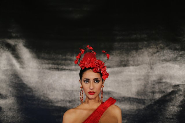 Spanish model, Noor Ben Yessef, 19, poses wearing a creation by Antonio Gutierrez during the International Flamenco Fashion Show SIMOF in the Andalusian capital of Seville, February 6, 2015. (Photo by Marcelo del Pozo/Reuters)