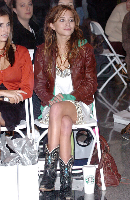Mary Kate Olsen during Olympus Fashion Week Fall 2005 – Imitation Of Christ – Front Row and Backstage at Lever House in New York City, New York City, United States. (Photo by Lawrence Lucier/FilmMagic)