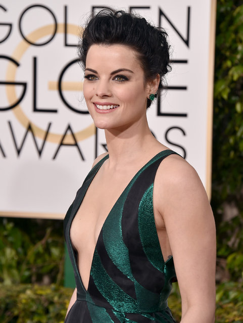 Jaimie Alexander arrives at the 73rd annual Golden Globe Awards on Sunday, January 10, 2016, at the Beverly Hilton Hotel in Beverly Hills, Calif. (Photo by Jordan Strauss/Invision/AP Photo)