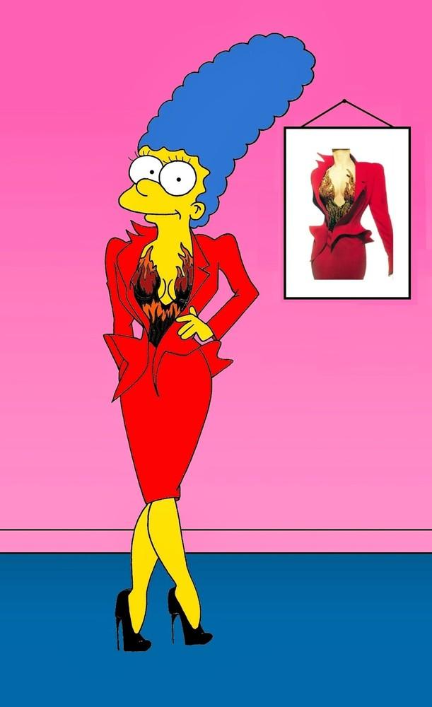 Marge Simpson Models Iconic Dresses