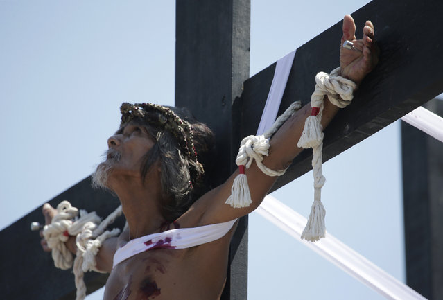 A Filipino penitent looks up as he is nailed to a wooden cross during Good Friday rituals Friday, April 3, 2015 in Pampanga province, northern Philippines. (Photo by Aaron Favila/AP Photo)