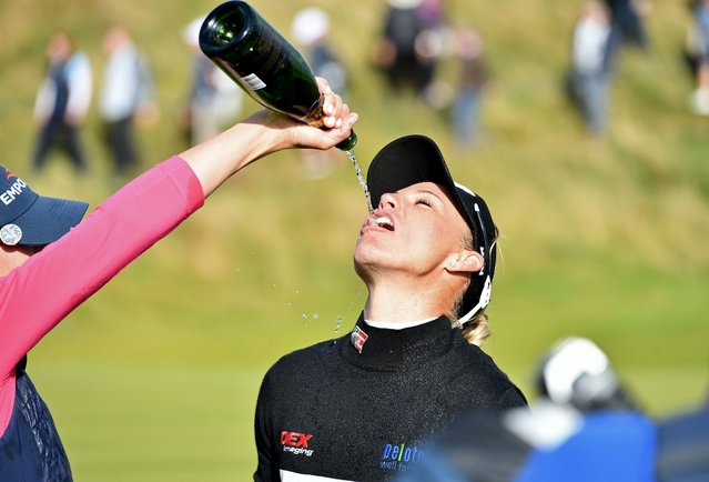 Ryann O'Toole after finishing her round on the 18th during day four of the Trust Golf Women's Scottish Open at Dumbarnie Links, St Andrews on Sunday, August 15, 2021. (Photo by Malcolm MacKenzie/PA Wire Press Association)