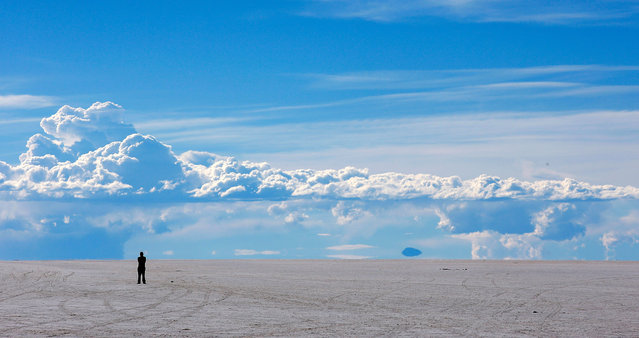 A stands alone in Salar de Uyuni or Uyuni Salt Flat during Day 7 of the 2014 Dakar Rally on January 11, 2014 in Uyuni, Bolivia. (Photo by Dean Mouhtaropoulos/Getty Images)