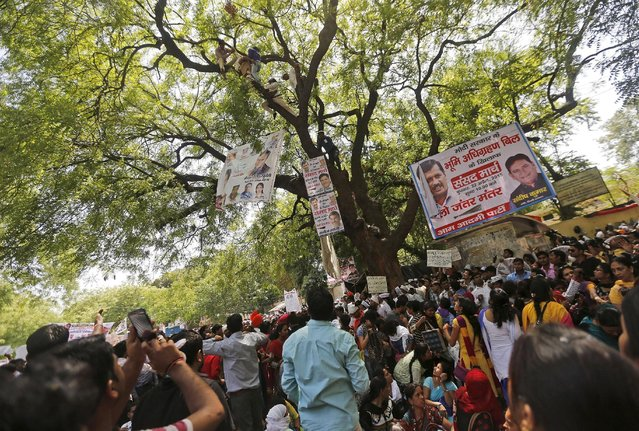 Supporters of Aam Aadmi (Common Man) Party (AAP) watch as others try to rescue a farmer who hung himself from a tree during a rally organized by AAP, in New Delhi April 22, 2015. (Photo by Adnan Abidi/Reuters)