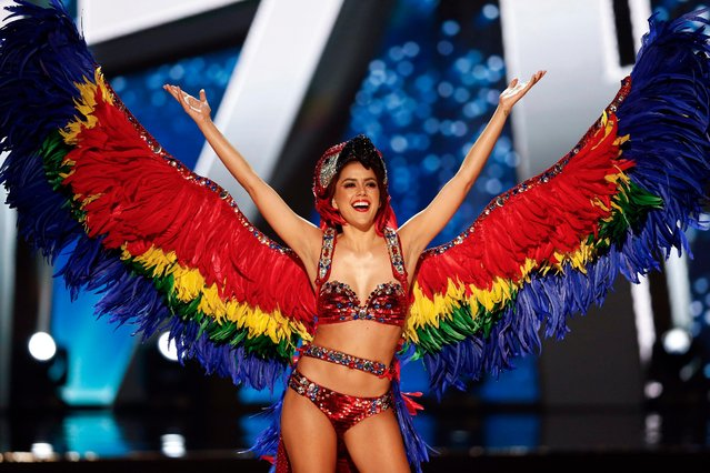 Miss Universe candidate Rebecca Kathleen Rath from Belize walks on stage in her national costume during the Miss Universe preliminary show at the Mall of Asia Arena in Pasay City, south of Manila, Philippines 26 January 2017. (Photo by Rolex Dela Pena/EPA)