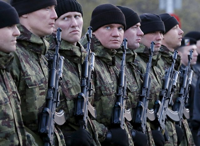 Russian servicemen stand in a line as they take part in a rehearsal for the Victory Day festive march in the Siberian city of Krasnoyarsk, Russia, April 29, 2015. (Photo by Ilya Naymushin/Reuters)
