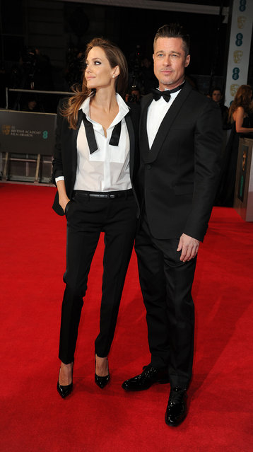 British Academy Film Awards Arrivals at The Royal Opera House, London. Brad Pitt and Angelina Jolie. (Photo by Splash News and Pictures)