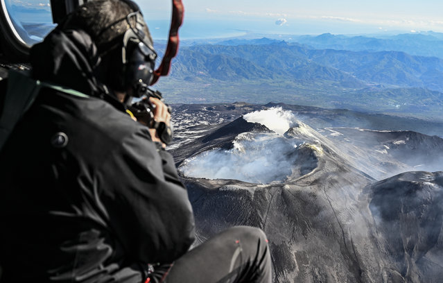 The summit craters of the volcano Etna during a flight with the Coast Guard helicopter on May 8, 2019 in Catania, Italy. On board there were volcanologists from the INGV (National Institute of Geophysics and Volcanology) who, with special thermal cameras, monitored the activity of the largest active volcano in Europe. (Photo by Fabrizio Villa/Getty Images)