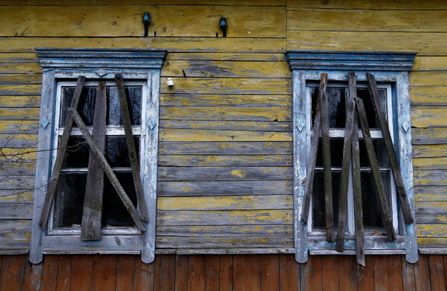 """Abandoned and ruined house is seen near Ivan Shamyanok's house in the village of Tulgovichi, near the exclusion zone around the Chernobyl nuclear reactor, Belarus April 1, 2016. All but two of the homes in Tulgovichi have been abandoned and now that his wife has died and children moved away, he and his nephew, who lives on the other side of the village, are the only people left. """"Will people move back? No, they won't come back"""", he said. """"The ones who wanted to have died already"""". (Photo by Vasily Fedosenko/Reuters)"""