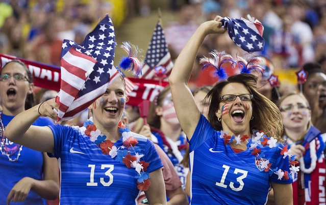 U.S. fans cheer on the team before the team's semifinal against Germany in the Women's World Cup soccer tournament, Tuesday, June 30, 2015, in Montreal, Canada. (Photo by The Canadian Press via AP Photo)