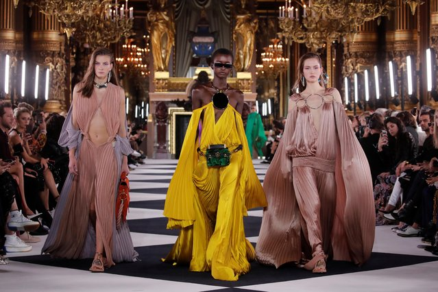 Models present creations by designer Olivier Rousteing as part of his Spring/Summer 2020 women's ready-to-wear collection show for Balmain fashion house during Paris Fashion Week in Paris, France, September 27, 2019. (Photo by Benoit Tessier/Reuters)