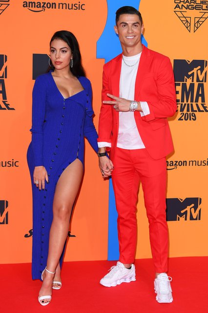 Georgina Rodriguez and Cristiano Ronaldo attend the MTV Europe Music Awards 2019, held at the FIBES Conference & Exhibition Centre of Seville, Spain on November 03, 2019. (Photo by David Fisher/Rex Features/Shutterstock)